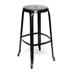 Austin Black Industrial Stackable Steel Barstool 30 Inch
