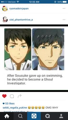 Yessss Free! And Tokyo Ghoul crossover with Sousuke and Amon