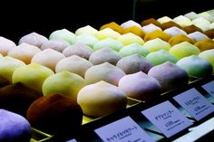 multi-flavoured (ice cream?) mochi!! I will try one of each flavour even if it means going broke afterward. i want to travel all of asia and eat all the yummy foods!