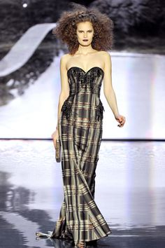 Badgley Mischka F12 plaid gown