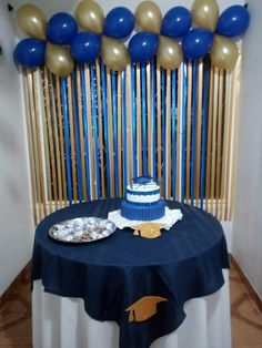 Baptism Party Decorations, Simple Birthday Decorations, Birthday Balloon Decorations, Graduation Decorations, Birthday Party Themes, Birthday Cake Pops, 1st Boy Birthday, Gold Party, Male Birthday Parties