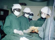 Rita Schiffer MMS (right), Medical Mission sister from Germany, in an operating room in Ethiopia. The gynecologist has for many years worked in the Foreign Missions