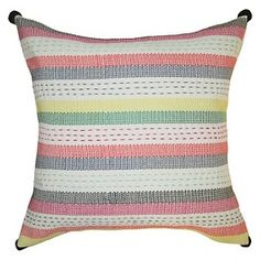 Embroidered Striped Pillow 18