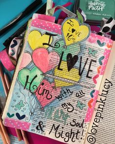 Deuteronomy 6:5  When I think about my love for the Lord, I often envision it as heart balloons drifting from my heart to His. It always makes me smile thinking about them making their way to Him.  #bibleartjournaling  #illustratedfaith #bible #scripture #devotional #creativechristian #illustratedjournaling #biblejournalingcommunity #bibledood