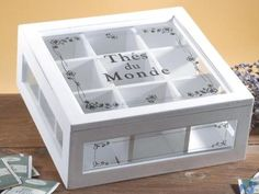 tea box: Provide a device to mount it higher. Put only 4 boxes so that the packaging on all 4 can be seen