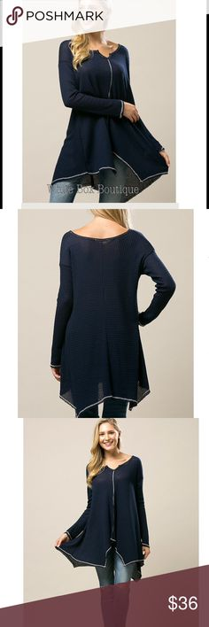 Arriving Soon Handkerchief Hen Thermal Tunic Gorgeous Navy thermal tunic sweater with relaxed fit. Loose fit, handkerchief hemline, & comfortable. Stretchy, knit, & non sheer. Tops Tunics