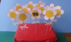 Topper grandi / fiori / decorazioni festa / 12 topper grandi a