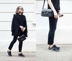 Ray Ban Sunglasses, The Kooples Coat, The Kooples Sweater, Saint Laurent Bag, Topshop Pants, Nike Sneakers