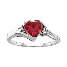 Fred Meyer Jewelers | Garnet and Diamond Heart Fashion Ring