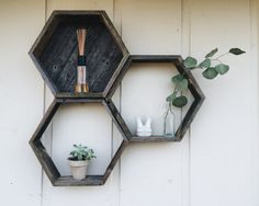 Hexagon Shelves Set of 3 Pallet Wood Shelves by ShopFernwehSupplyCo! Love this honeycomb shelf grouping