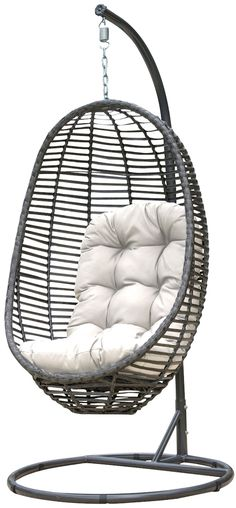 Panama Jack Graphite Hanging Chair-time to redecorate! Retro Dining Chairs, Wooden Dining Room Chairs, Wayfair Living Room Chairs, Shabby Chic Table And Chairs, Farmhouse Dining Chairs, Wicker Chairs, Cool Chairs, Swing Chairs, Eames Chairs