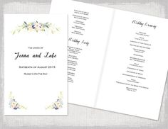 Program Template  Lovebird Booklet  Booklet Template Wedding
