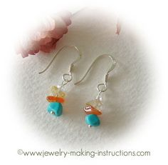 Turquoise Dangling Earrings - Fashionable earrings idea for your jewelry making.