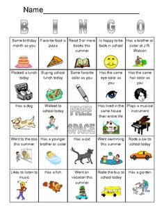 Get to know you Bingo...perfect for social skills group or first week.