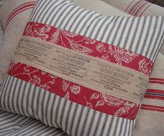 """CottaGe FReNch Black TiCKiNG and ReD Toile Hand STamped PaRis Ribbon Shabby Chic 18""""  PiLLow. $42.00, via Etsy."""
