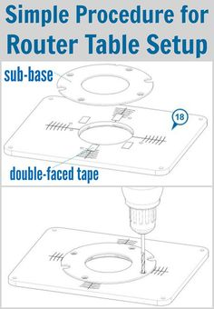 Tuesday Tool Tip: Simple Procedure for Router Table Setup | When you're setting up a router table, one of the biggest challenges can be drilling the router mounting holes in the proper place in the table's insert plate. To make this easy, first remove the sub-base from your router. Position the sub-base on the plate and center it on the hole in the plate, and then stick it down with double-faced tape.