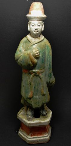 Chinese Terracotta Figurine ~ Glazed ~ Head Removes ~ 15 '' tall ~