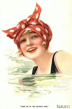 "Vintage postcard, ""Come on in the water's fine"""