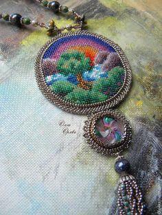 Купить Летний вечер - разноцветный, ольга орлова, кулон вышитый бисером, лето, богемское стекло