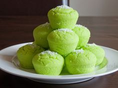Coconut Pandan Steamed Rice Cake (Puto) {Filipino Food Month}   by amber's hands