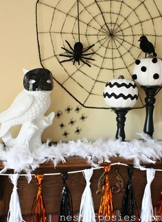 Owls, Spiders & Birds ~ Oh My! A Halloween Mantel - Nest of Posies