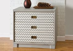 Chevron Dresser: The popular chevron makes the perfect pattern on a dresser or chest. Created with FolkArt paints and stencils