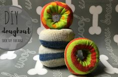 Tore a hole in one of your socks? Don't throw them away- make this dog doughnut toy instead.