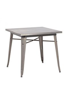 Olympia Dining Table Gunmetal - 109125 Description : This table has a solid steel frame and top in a polished galvanized steel finish.Features:-Color : Gunmetal Product Finish (Structure Materiel or Type of Wood) : SteelDimensions : Dining Table : 31.5