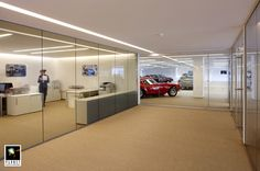 Stylish sleek partitioning by Planet Partitioning at the Ferrari & Maserati Showroom