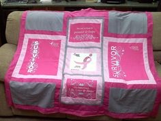t-shirt quilt top I just finished for the wife of my husband's coworker who is is fighting breast cancer.