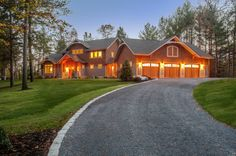 Completed custom home at dusk. Louden Ridge, Saratoga Springs, NY
