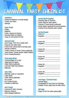 Carnival Birthday Party Checklist - FREE DOWNLOAD!