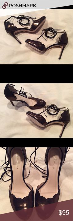 NWOT Anthropologie Guilhermina Scalloped Heels Beautiful pewter color with a metallic sheen. Never worn, I haven't had anywhere to wear them and they deserve to be shown off! Anthropologie Shoes Heels