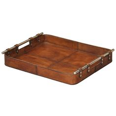 Tobacco Safari Leather Tray Sarreid Serving Trays Serving Trays Kitchen