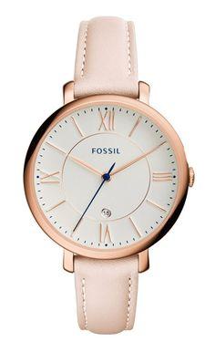 Fossil Dameshorloge 'Jacqueline' rosékleur & roze band ES3988. Een mooi en elegant horloge met een trendy uitstraling. De kast heeft een rosékleur en de band is lichtroze. Een horloge dat bij nagenoeg elk outfit gedragen kan worden. U heeft 2 jaar garantie op het uurwerk. https://www.timefortrends.nl/horloges/fossil/dames.html