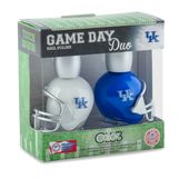 Two helmet-shaped nail polishes with colors designed to match your favorite NCAA team are ideal for showing off team spirit Nail Polish Games, Nail Polish Sets, Nail Polish Designs, Alabama Nails, Kentucky Game, Kentucky Wildcats, College Nails, Hawaii Rainbow Warriors, Warriors Game
