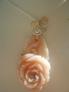 PERUVIAN OPAL HAND CARVED ROSE W/STERLING SILVER 20in. NECKLACE #HANDCARVED