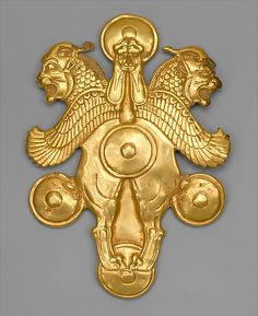 Plaque with horned lion-griffins, Achaemenid, circa 6th-4th BC, Iran.