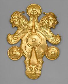 Plaque with horned lion-griffins   Period: Achaemenid Date: ca. 6th–4th century B.C. Geography: Iran Culture: Achaemenid Medium: Gold
