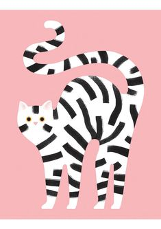 Striped black and white cat Illustration on pink background by Giacomo Bagnara Cute Animal Illustration, Art Et Illustration, Animal Illustrations, Fashion Illustrations, Illustration Mignonne, Motifs Animal, Art Design, Cat Art, Illustrators