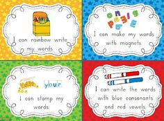 Chalk Talk: A Kindergarten Blog ~ I can posters for Daily 5 centers rachel-s-education-stuff