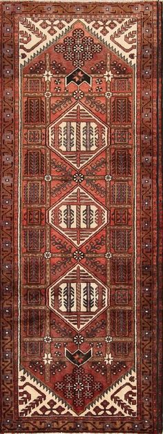 Vintage Geometric Tribal Runner Hamedan Persian Oriental Rug 9 9 x 3 7 Kitchen Rug, Oriental Rug, Persian, Bohemian Rug, Rugs, Vintage, Decor, Farmhouse Rugs, Kitchen Carpet