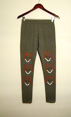 Grey fox print leggings  M/L size  Handmade cotton by COOLLeggings
