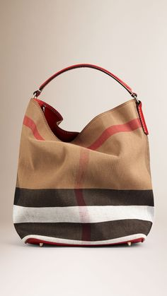 The Medium Ashby in Canvas Check and Leather   Burberry Me Bag, Large Bags, bec2388b68