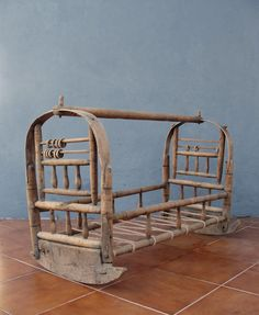 Antique Wooden Cradle Hand Carved Crib Rocking Baby Bed early 1900's Collectible Photography Prop