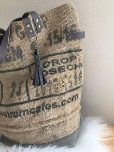 Sac cabas toile de jute sac de café sac recyclé sac fourre-tout sac jute sac tissus anse cuir de la boutique mlfabric sur Etsy