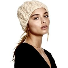 NEW Free People ivory Snow Bird Chunky Knit Beanie Beret Hat  #FreePeople #beretbeanie #winter