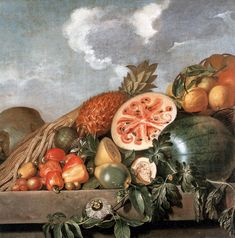 """The Evolution of the Watermelon, Captured in Still Lifes Albert Eckhout, """"Pineapple, watermelons and other fruits (Brazilian fruits)"""" century), oil on canvas (via National Museum of Denmark) Albert Eckhout, Culture Of England, Be Still, Still Life, Johann Moritz Rugendas, Brazilian Fruit, Colonial, Art History Lessons, Art Lessons"""