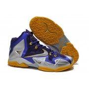 http://www.blackgot.com Cheap Lebron 11 Grey Yellow Navy Blue Shoes For Sale Online