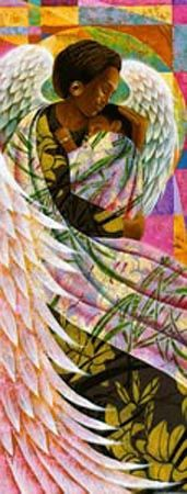 """""""Spring"""" by Keith Mallett.  The guardian angel of spring lovingly watches over a child born within her season."""